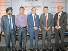 (From left) SBI Mutual Fund ED D P Singh, Kotak Mutual Fund CEO Nilesh Shah, UTI Mutual Fund MD Leo Puri, Reliance Mutual Fund ED & CEO Sundeep Sikka and HDFC Mutual Fund MD Milind Barve at the Business Standard Fund Cafe held in August.