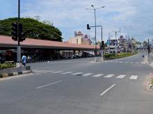 The deserted roads in Thiruvananthapuram on Thursday due to strike by BJP workers in protest against the brutal killing of a party activist in Kannur.PTI:Photo