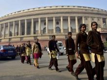 School girls visiting Parliament House in New Delhi. Photo: PTI