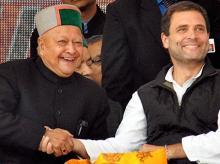 File photo of Himachal Pradesh Chief minister Virbhadra Singh and Congress Vice-President Rahul Gandhi.