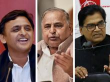 (From L to R) Uttar Pradesh Chief Minister Akhilesh Yadav, party supremo Mulayam Singh Yadav and SP leader Ram Gopal Yadav. Photo: PTI