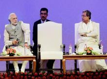Prime Minister Narendra Modi with Karnataka C M Siddharamaiah