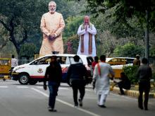Giant cut-outs of Prime Minister Narendra Modi and BJP President Amit Shah fixed at the party headquarters