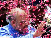 File Photo: BJP national president Amit Shah being welcomed by party workers  at a function in New Delhi.