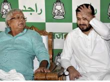 RJD chief Lalu Prasad with son Tejaswi Yadav. (File Photo)