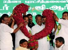 Tamil Nadu CM K Palaniswami and Deputy CM O Panneerselvam being felicitated at AIADMK founder MG Ramachandran's 100th birth anniversary function in Ariyalur, Tamil Nadu. (File Photo: PTI)