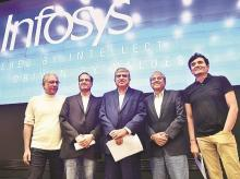 Newly appointed Non-Executive Chairman of Infosys Nandan Nilekani (centre) with board members (from left) Ravi Venkatesan, CEO Pravin Rao, D N Prahlad and CFO Ranganath D Mavinakere during a press conference in Bengaluru on Friday. Photo: PTI