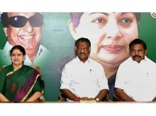 AIADMK leader V K Sasikala (left) with Tamil Nadu Chief Minister K Palaniswami (right) and O Panneerselvam | Photo: PTI