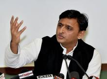 Samajwadi Party chief and former UP CM Akhilesh Yadav during a press conference at party office in Lucknow. (File Photo: PTI)