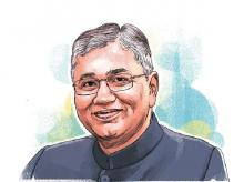 P P Chaudhary, MoS, Corporate Affairs. Illustration: Ajay Mohanty
