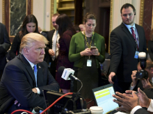 President Donald Trump sits for a radio interview in the Eisenhower Executive Office Building in the White House complex in Washington. (Photo: AP| PTI)