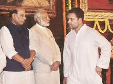 Prime Minister Narendra Modi (centre), Home Minister Rajnath Singh (left) and Congress Vice-President Rahul Gandhi at the Parliament House in New Delhi. (File photo)