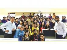 Arjun Pratap (extreme right), founder and chief executive officer of Edge Networks, with his team