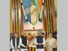 Former prime minister Manmohan Singh, BJP veteran LK Advani, Lok Sabha Speaker Sumitra Mahajan and Congress vice-president Rahul Gandhi after paying tributes to the former prime minister Indira Gandhi on her 100th birth anniversary at Parliament Hous