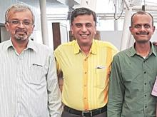 (From left)  Nuvepro Chairman  S Janakiraman with 1Crowd co-founder Anup Kuruvilla and chief executive Giridhar LV
