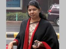 DMK member Kanimozhi arrives to appear at Patiala House court in connection with the 2G scam case. Photo: PTI