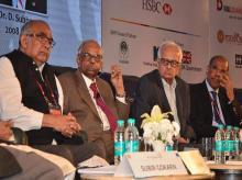 Former RBI Governors (L-R) Y V Reddy, C Rangarajan, Bimal Jalan and D Subbarao at Inclusive Finance India Summit 2017. Photo: Sanjay Sharma