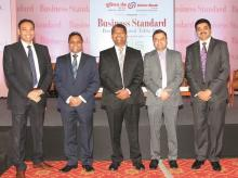 (From left) Payments Council of India Chairman Naveen Surya, FIS South Asia Regional MD Ramas Venkatachalam, ICICI Bank CTO & Digital Officer B Madhivanan, Axis Bank Digital Banking Head Praveen Bhatt and InfrasoftTech MD & CEO Rajesh Mirjankar at th