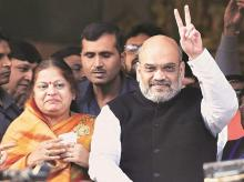 BJP National President Amit Shah after casting his vote during the second phase of the Gujarat Assembly elections, at Naranpura in Ahmedabad on Thursday. Photo: PTI