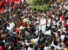 DMK Working President M K Stalin campaigning for the party candidate Maruthu Ganesh at the Dr Radhakrishnan Nagar constitutency in Chennai on Sunday