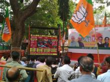 BJP workers celebrating after winning both Gujarat and Himachal Pradesh Assembly elections