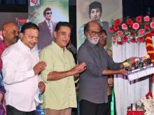 ctors Rajinikanth and Kamal Haasan at the launch of Kizhakku Africavil Raju, Starring late MGR (M G Ramachandran) through motion capture technology animated film directed by Arul Moorthy, on the occasion of AIADMK Founder M G Ramachandran's 101st bir