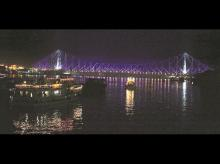 Illuminated Howrah Bridge at night in Kolkata. Photo: Subrata Majumdar