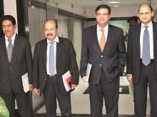RBI Governor Urjit Patel (second from right) with Deputy Governors B P Kanungo, N S Vishwanathan and Viral V Acharya after the announcement of the bi-monthly monetary policy at the RBI headquarters in Mumbai on Wednesday. Photo: Kamlesh Pednekar