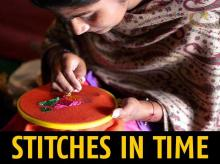A woman in Sangrur stitching phulkari
