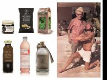 (Extreme right) Robert Bootzin (1914-2004), an early American icon of fitness and natural living ; (left) perennial themes in heath/ethical brands — a range of antidotes. The folksy strand: hand lettering, intricate, irregular shapes, the medieval or