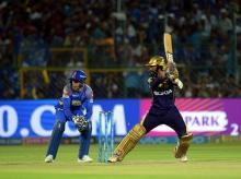 Kolkata Knight Rider batsman Dinesh Karthik  plays a shot during an IPL 2018 cricket match against Rajasthan Royals at Sawai Mansingh Stadium in Jaipur. Photo: PTI