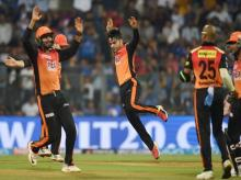 Sunrisers Hydrabad bowler Rashid Khan celebrates the wicket of  Mumbai Indans batsman Pollard during the IPL 2018 match played in Mumbai on Tuesday. Photo: PTI