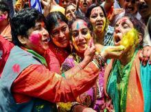 BJP women workers celebrating