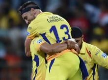 Chennai Super Kings players celebrate thier victroy against Sunrisers Hydrabad  during the 1st Qualifer IPL match played in Mumbai on Tuesday