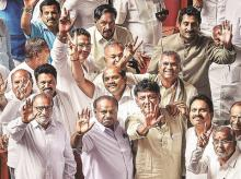 Karnataka Chief Minister H D Kumaraswamy, with other JD(S) and Congress leaders. Photo: PTI