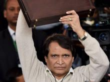 Union Minister for Railways, Suresh Prabhu  arrives at Parliament for presenting the Railway Budget 2016-17, in New Delhi