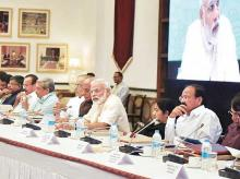 Prime Minister Narendra Modi with the Union Cabinet ministers at the eleventh Inter-state Council Meeting in New Delhi