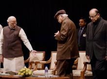 Prime Minister Narendra Modi, senior leaders LK Advani, Arun Jaitley at the BJP parliamentary board meeting in New Delhi