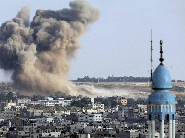 Smoke from an Israeli strike rises over Gaza City, Gaza Strip