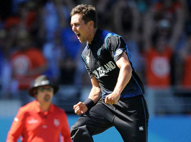 NZ's Trent Boult celebrates after taking a wicket during his 6/28 spell against Australia in the Cricket World Cup match in Auckland
