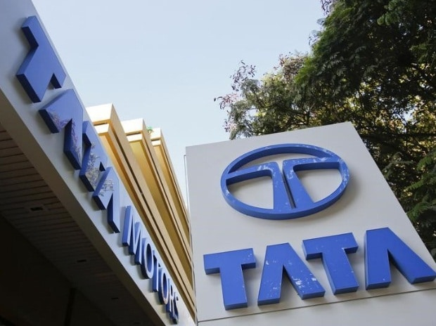 Tata Motors logos are pictured outside their flagship showroom in Mumbai