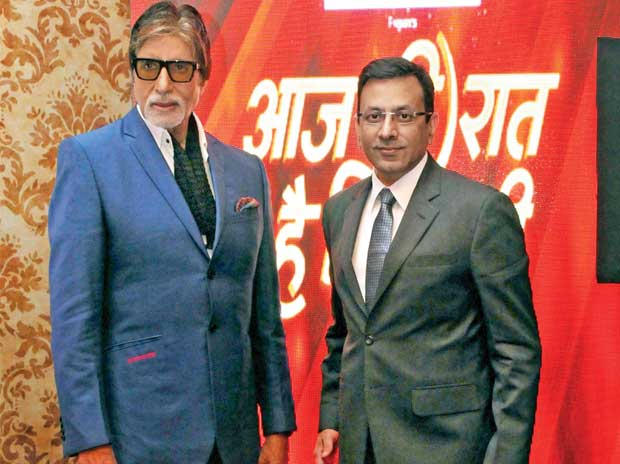 Amitabh Bachchan and  Sanjay Gupta, COO,  Star India