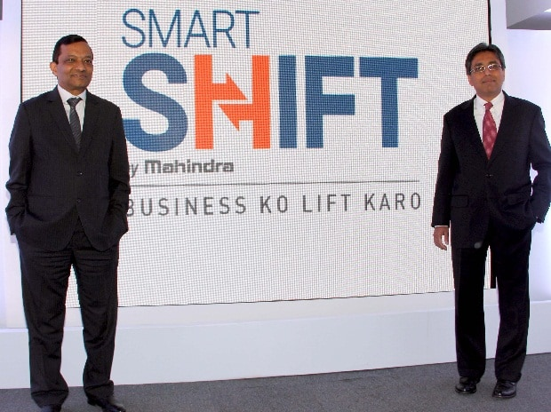 (from left to right) Pawan Goenka, Executive Director, Mahindra & Mahindra Ltd and Anish Shah, Group President (Strategy), Mahindra & Mahindra Ltd at the launch of Smart Shift,Mahindra's digital marketplace for intra-city logistics, in Mumbai