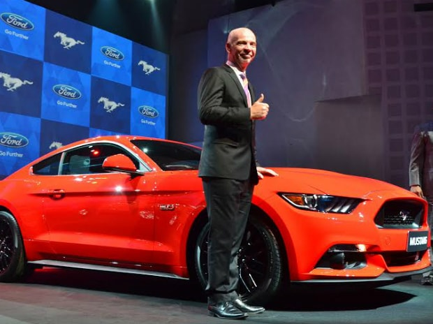 Nigel Harris, MD & President Ford India, showcasing the Ford Mustang. Photo: Sanjay K Sharma