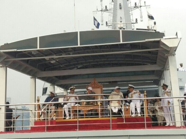 Presidential ship INS Sumitra proceeds for fleet review. Photo: Twitter