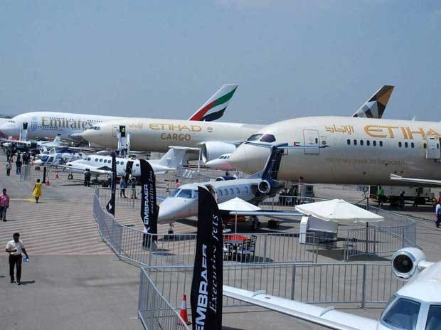 Airlines display crafts at India Aviation 2016 at Begumpet Airport in Hyderabad on Wednesday PTI