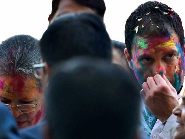 Sonia and Rahul Gandhi while celebrating Holi on Thursday, March 24, 2016 PTI