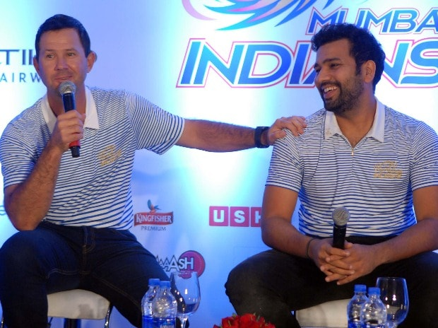 Mumbai Indians' coach Ricky Ponting and captain Rohit Sharma addressing a press conference in Mumbai (file pic: Kamlesh Pednekar)