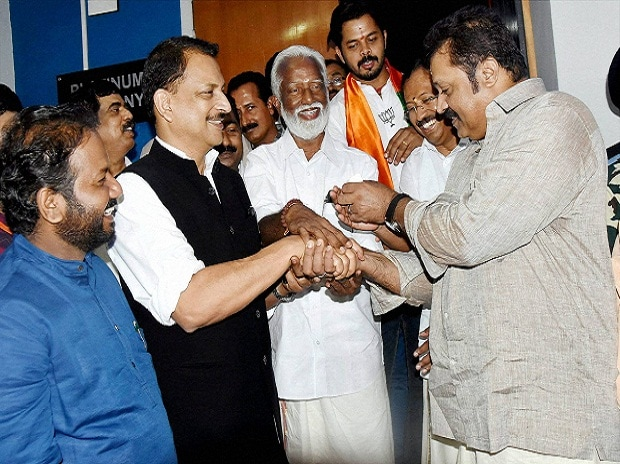 Malayalam actor Suresh Gopi with Union Minister and BJP leader Rajiv Pratap Rudy, party candidates Kummanam Rajasekharan, V Muraleedharan, and S Sreesanth after launching the BJP election campaign at Kalabhavan Theatre in Thiruvananthapuram