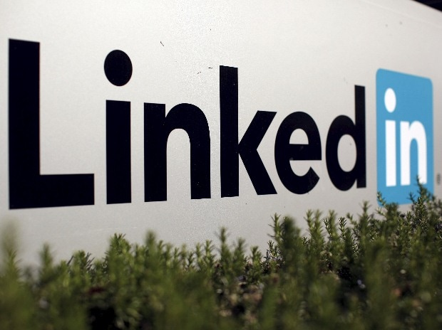 The logo for LinkedIn Corporation, a social networking networking website for people in professional occupations, is shown in Mountain View, California
